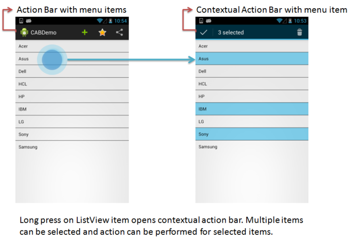 Android: Contextual Action Bar for ListView Item Deletion