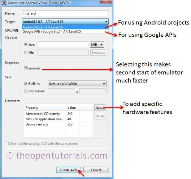 Android Tutorial - How to create Android AVD Emulator in ... Javadoc Link