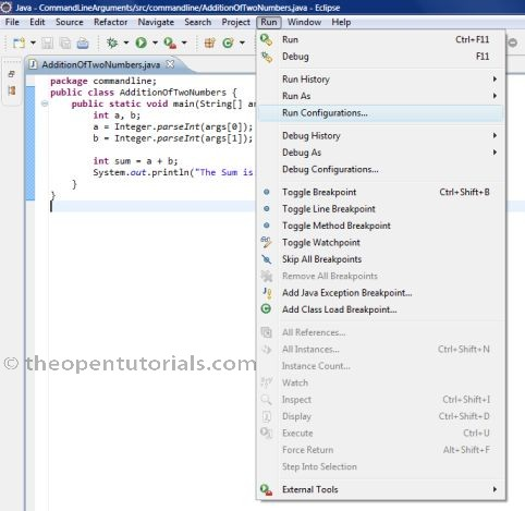 How to pass Command-line Arguments in Eclipse IDE? » the